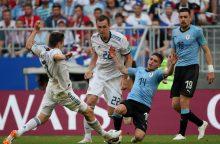 Urugvajaus futbolininkai sutriuškino Rusiją, Egipto vartininkas pasiekė rekordą