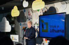 Prezidentė ragina emigrantus grįžti dirbti į Lietuvą